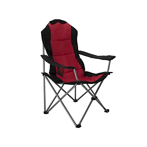 Homecall Camping Chair, Foldable, Armrest with Cupholder Outdoor, Black-Red, Standard