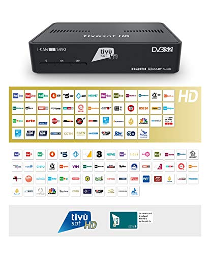 Decoder ICAN S490 Digitale HD Tivùsat Ricevitore Satellitare HEVC DVBS2 HDMI Dolby TVSat i-Can Media Player