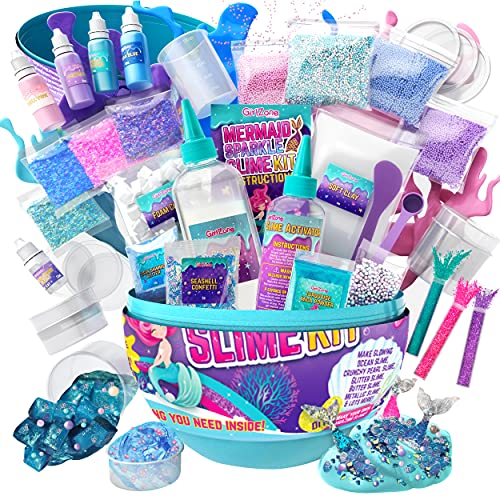 GirlZone Egg Mermaid Sparkle Slime Making Kit for Girls, Measures 9.5 inches tall, 39pcs DIY Sparkle Slime with Lots of Glitter Slime Add In, Gifts for 9 Year Old Girls