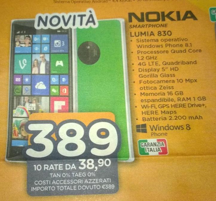 Nokia Lumia 830 Unieuro