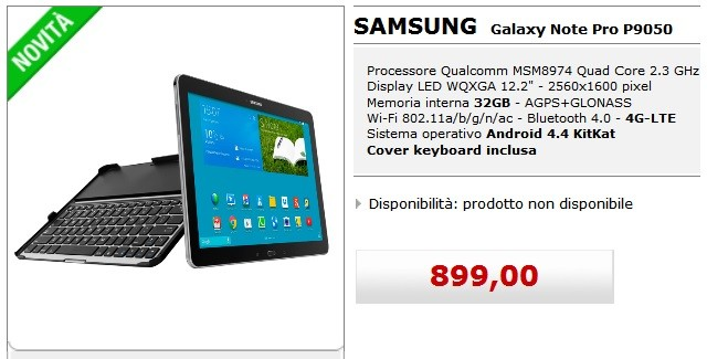 Samsung Galaxy Note Pro 12.2 Lte MediaWorld